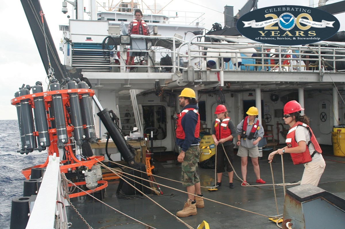 NOAA scientists with AOML's Physical Oceanography Division and the NMFS Southeast Fisheries Science Center.  The collaborative research cruise was part of a new three year interdisciplinary research project aimed at examining how recruitment of larva