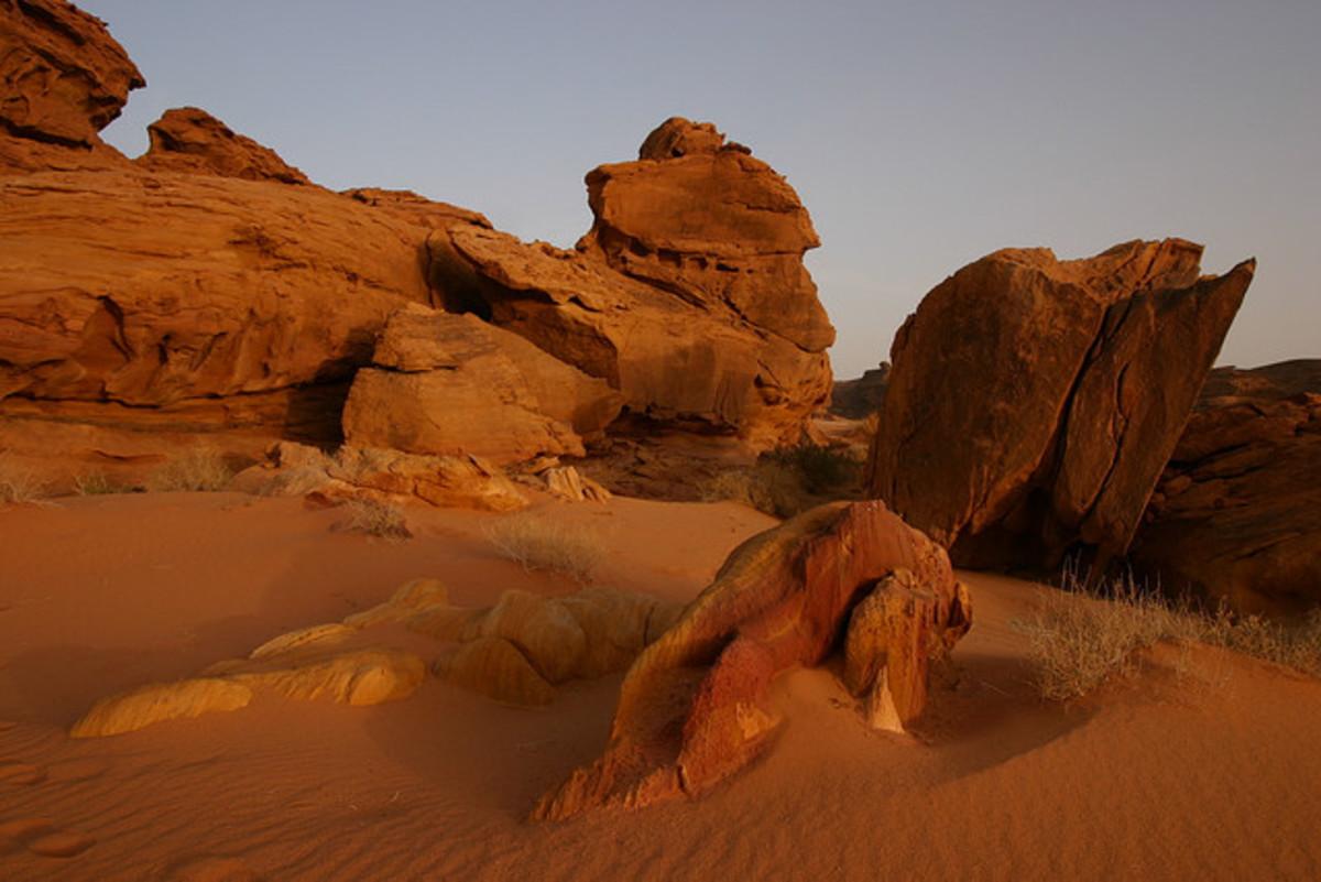 The desert landscape in Saudi Arabia