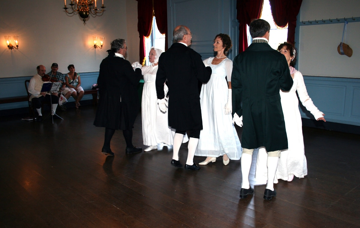 Dancers enjoy a turn in Gadsby's Ballroom.