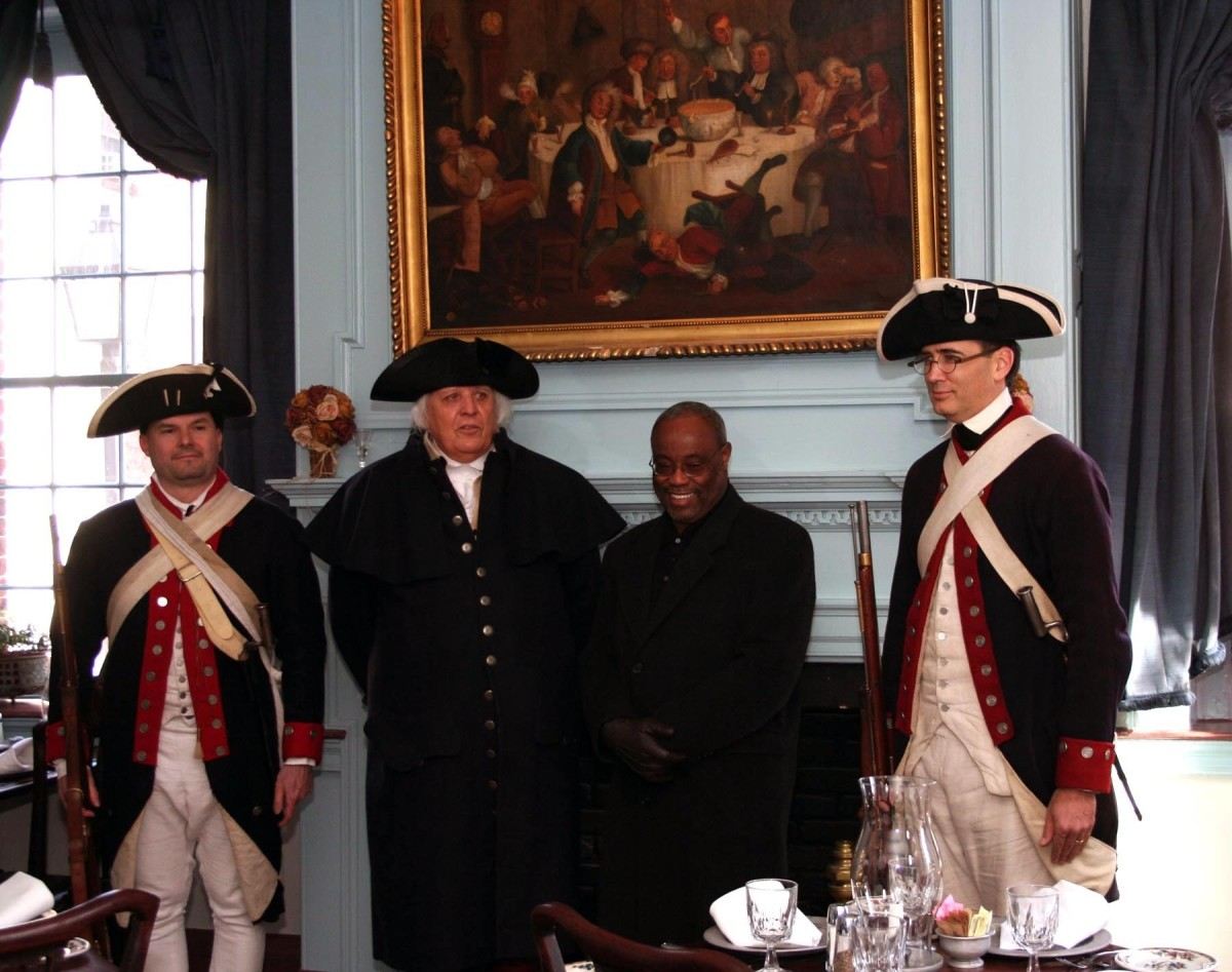 General Washington welcomes Mayor Bill Euillein front room at Gadsby's