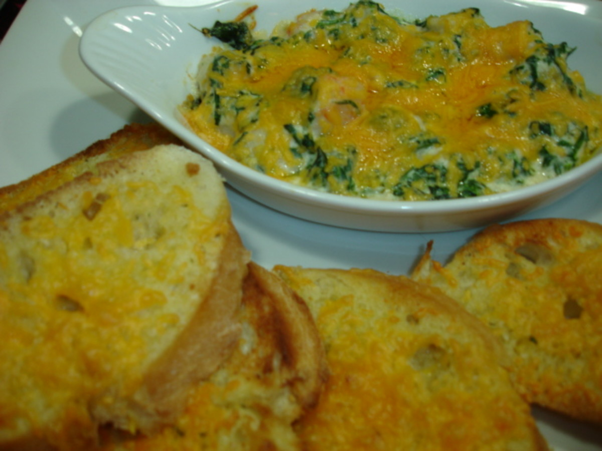 Pappadeaux Lump crab meat spinach Au Gratin Recipe with Ciabatta bread.