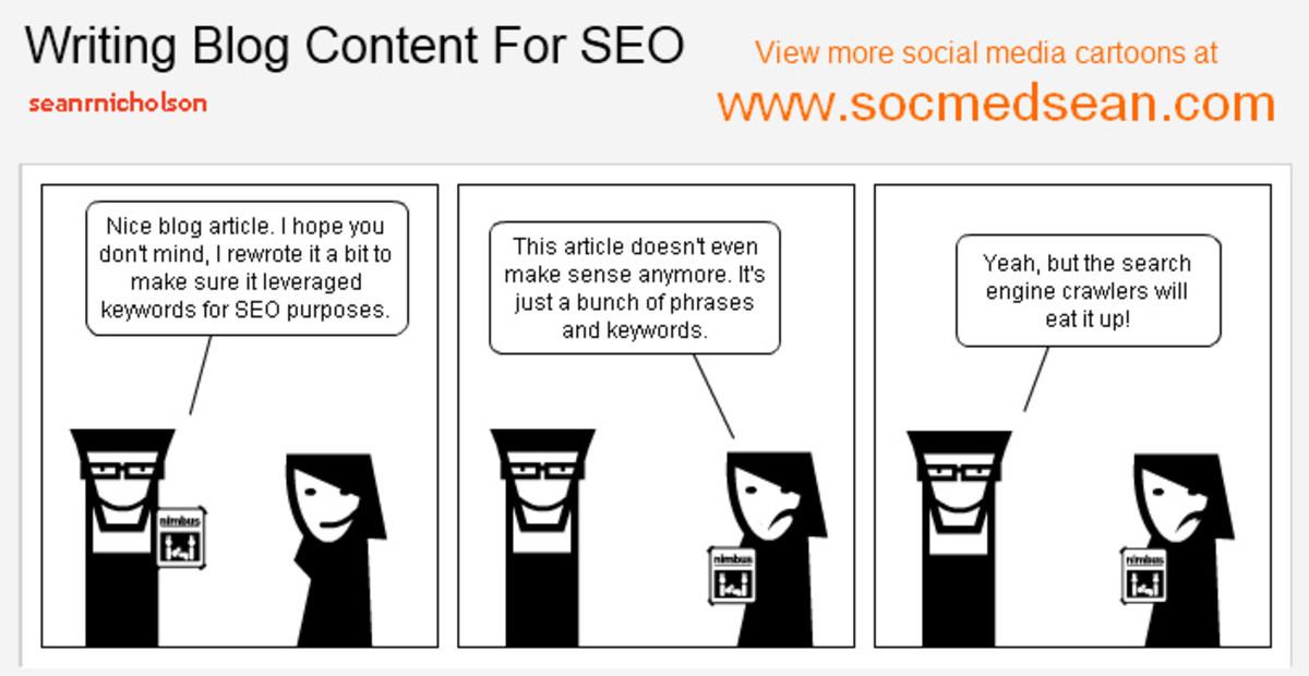 Writing blog content for SEO cartoon
