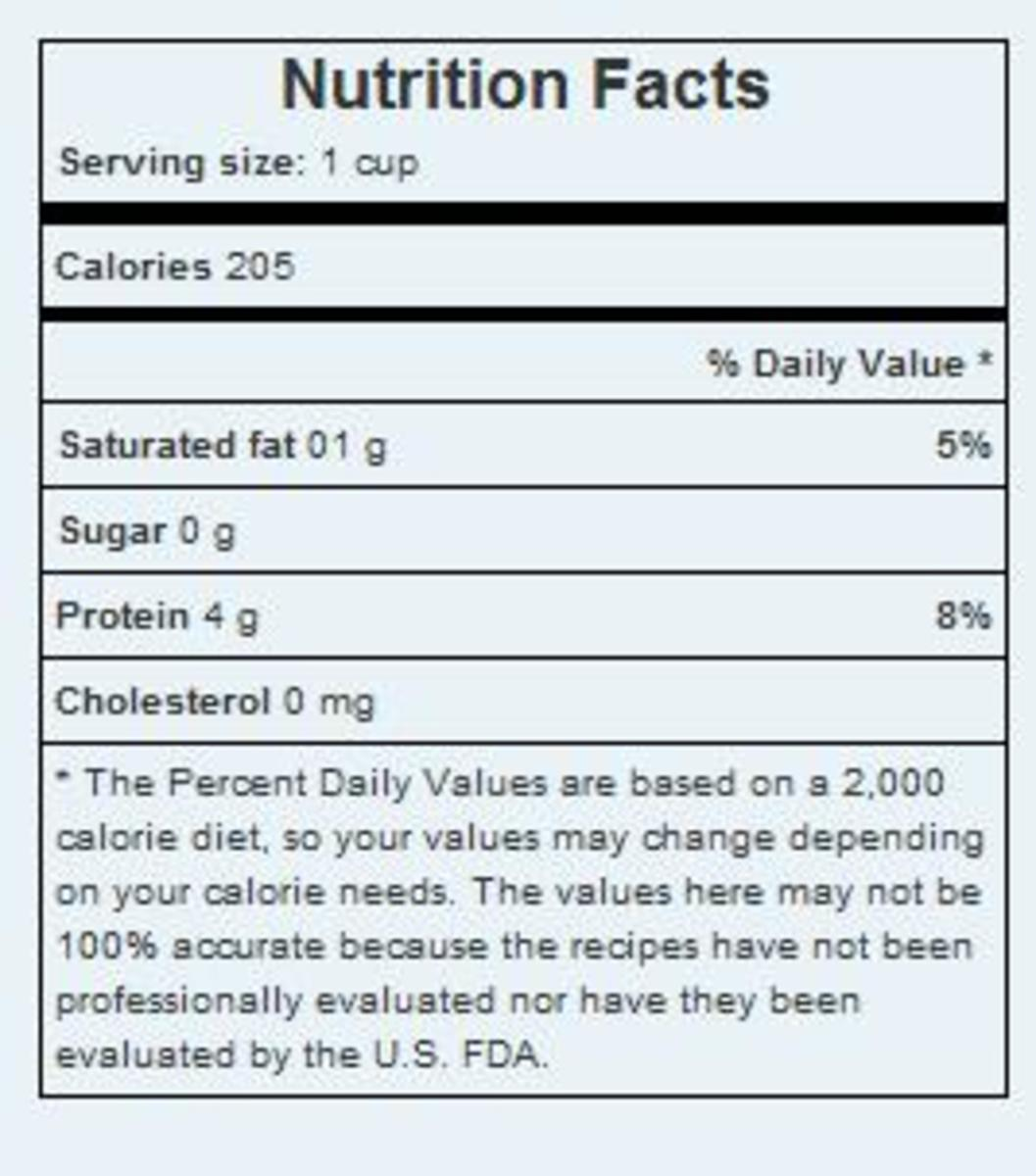 sample nutrition facts, the values are taken from recipe calculator