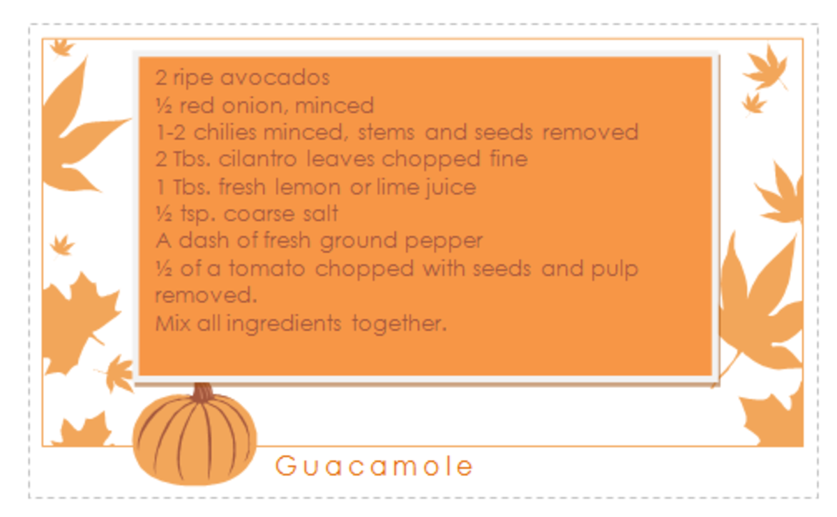 Recipe card made using template