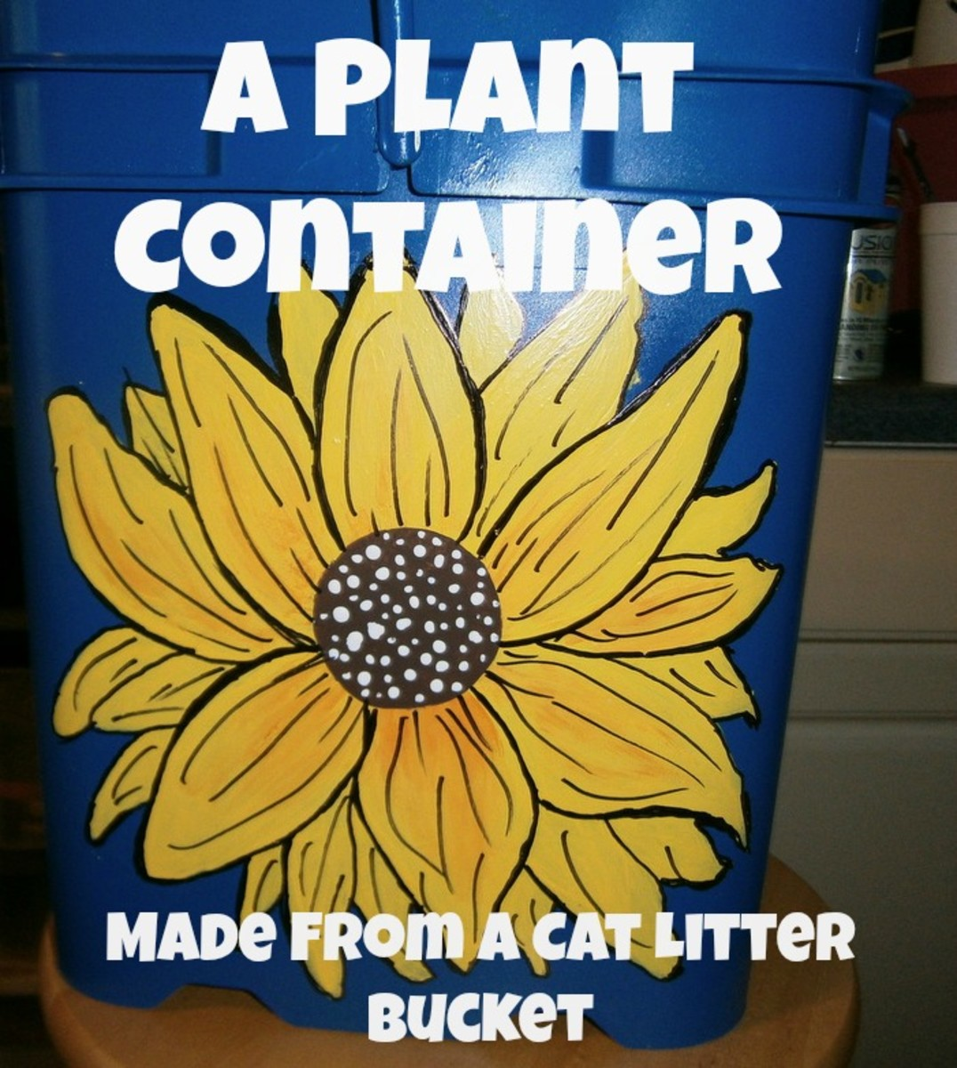 How To Make A Decorated Flower Pot From A Cat Litter Bucket; Instructions and Photos
