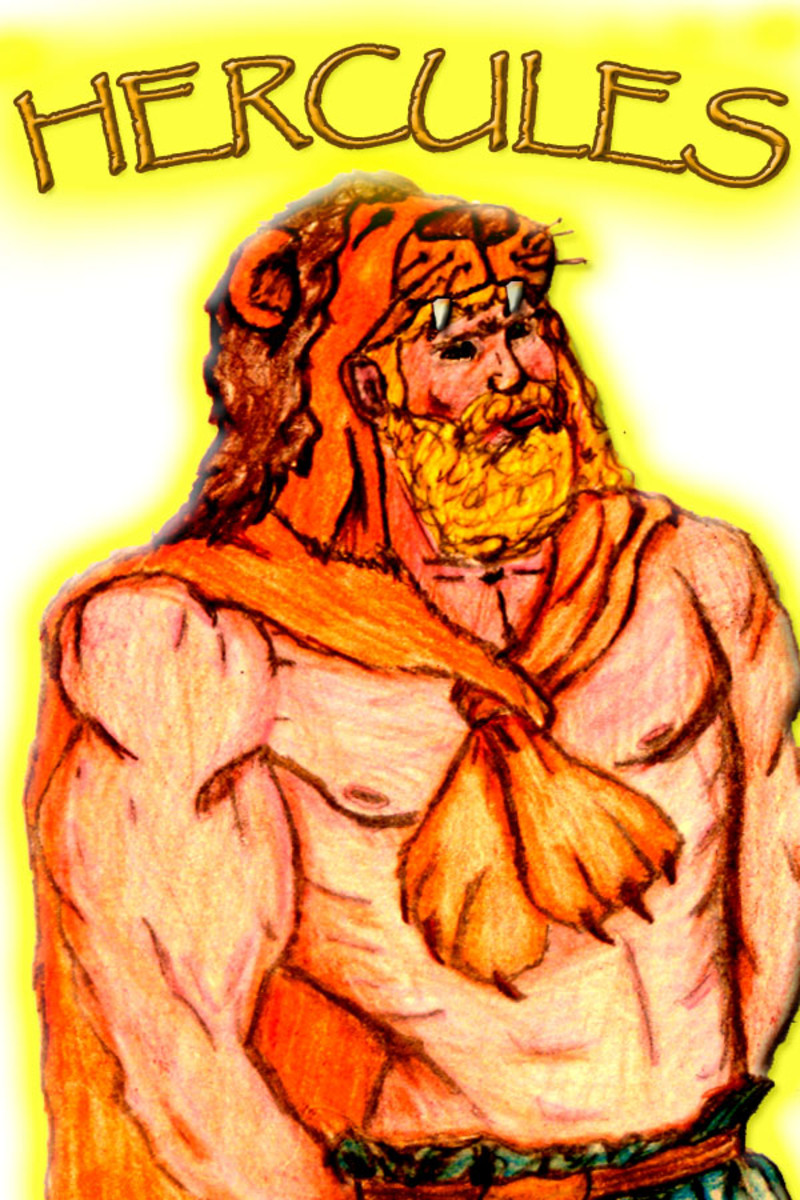 Hercules had to slay the huge monstrous Nemean lion as one of his twelve tasks. He wore the hide as a trophy upon his head.