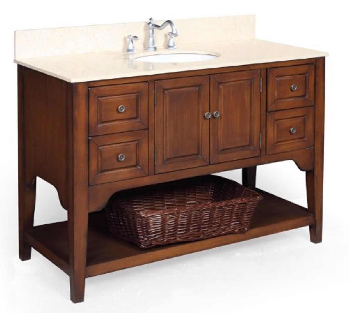 The Washington 48-inch Bathroom Vanity with Travertine Countertop, and a Ceramic Sink will blend in seamlesly in an authentic Craftsman style bathroom