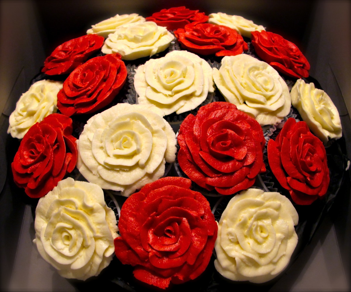 Red and White Roses, 1 of 4 bouquets for a Bridal Luncheon
