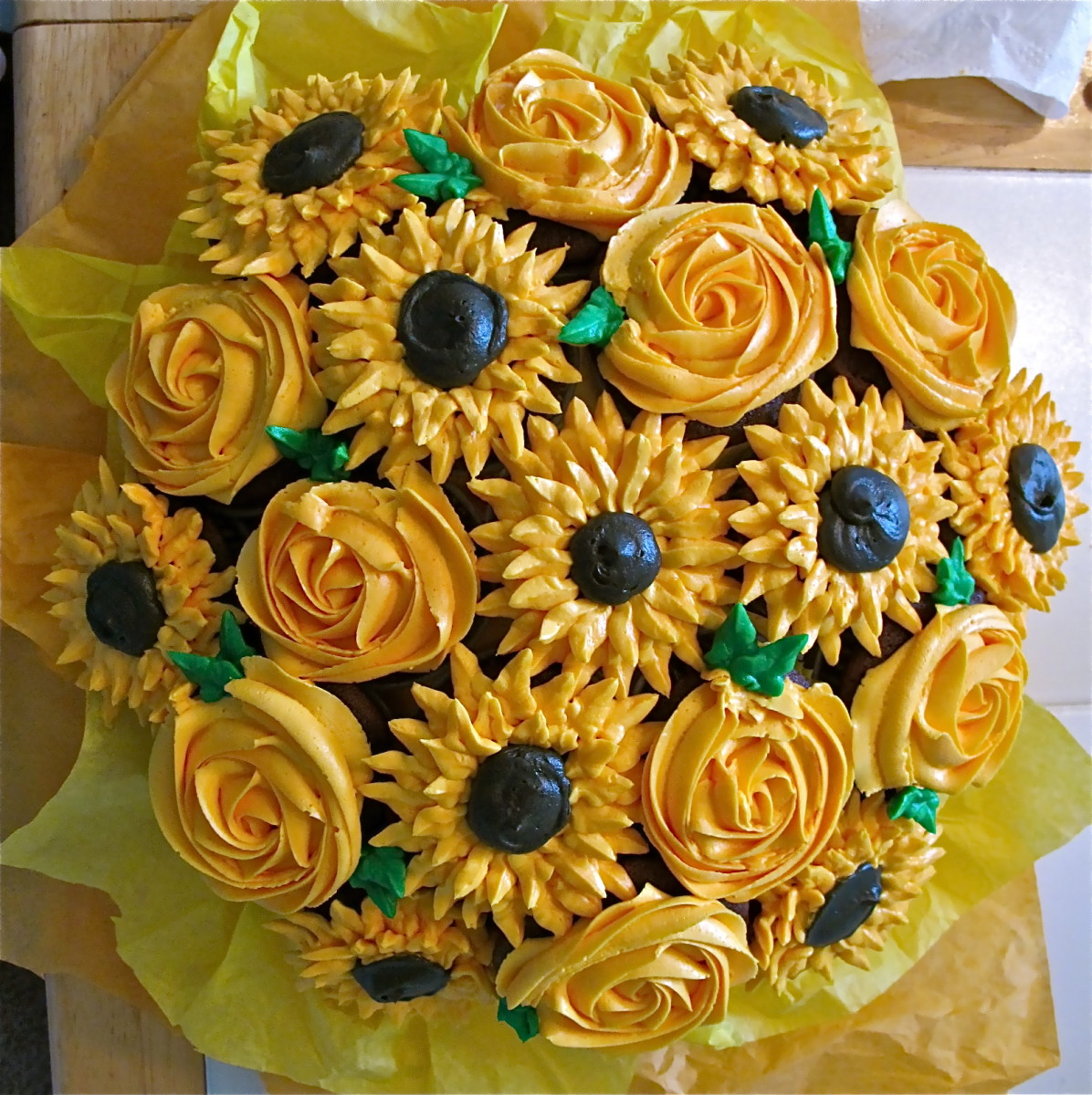 Sunshine yellow bouquet with roses and sunflowers- just to make someone smile