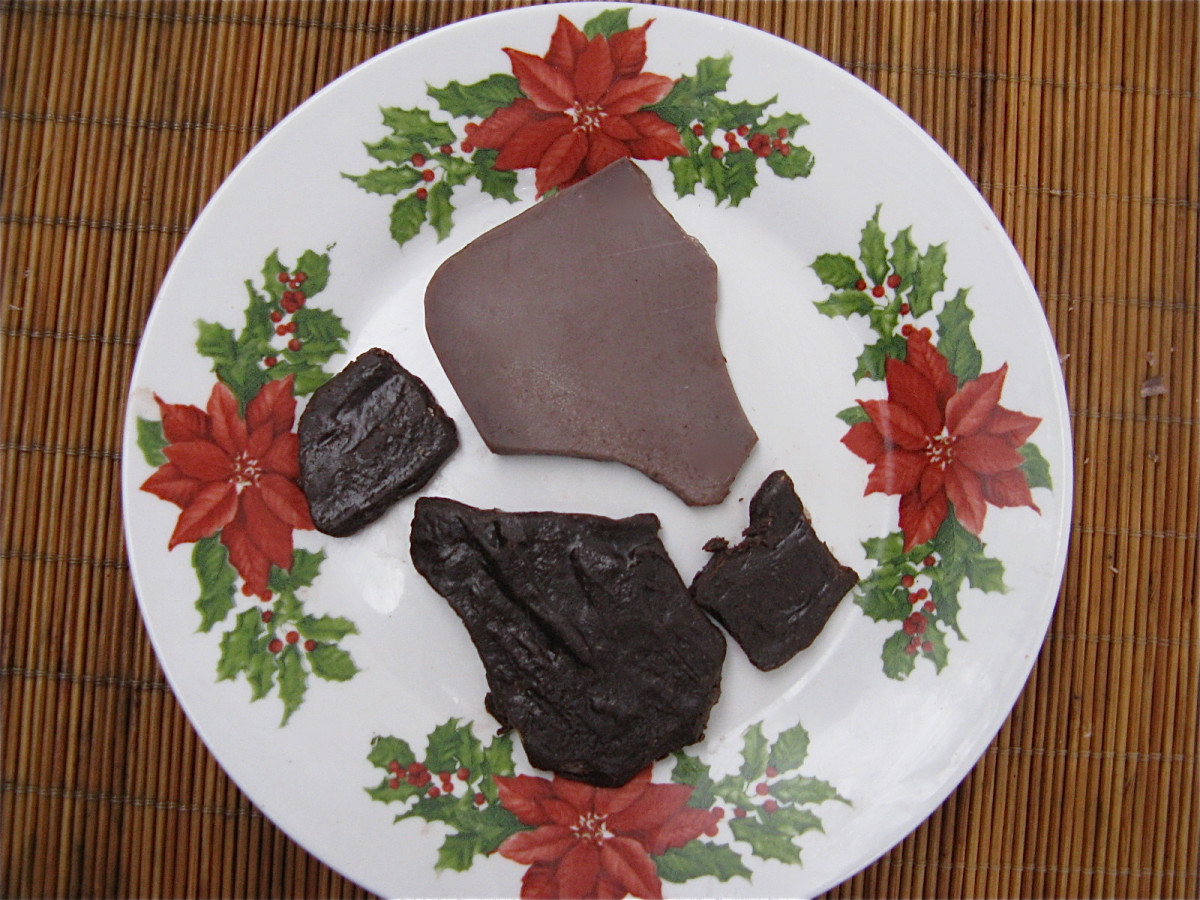 Chocolate bark without nut butter (the lighter piece) and with nut butter (the darker pieces)