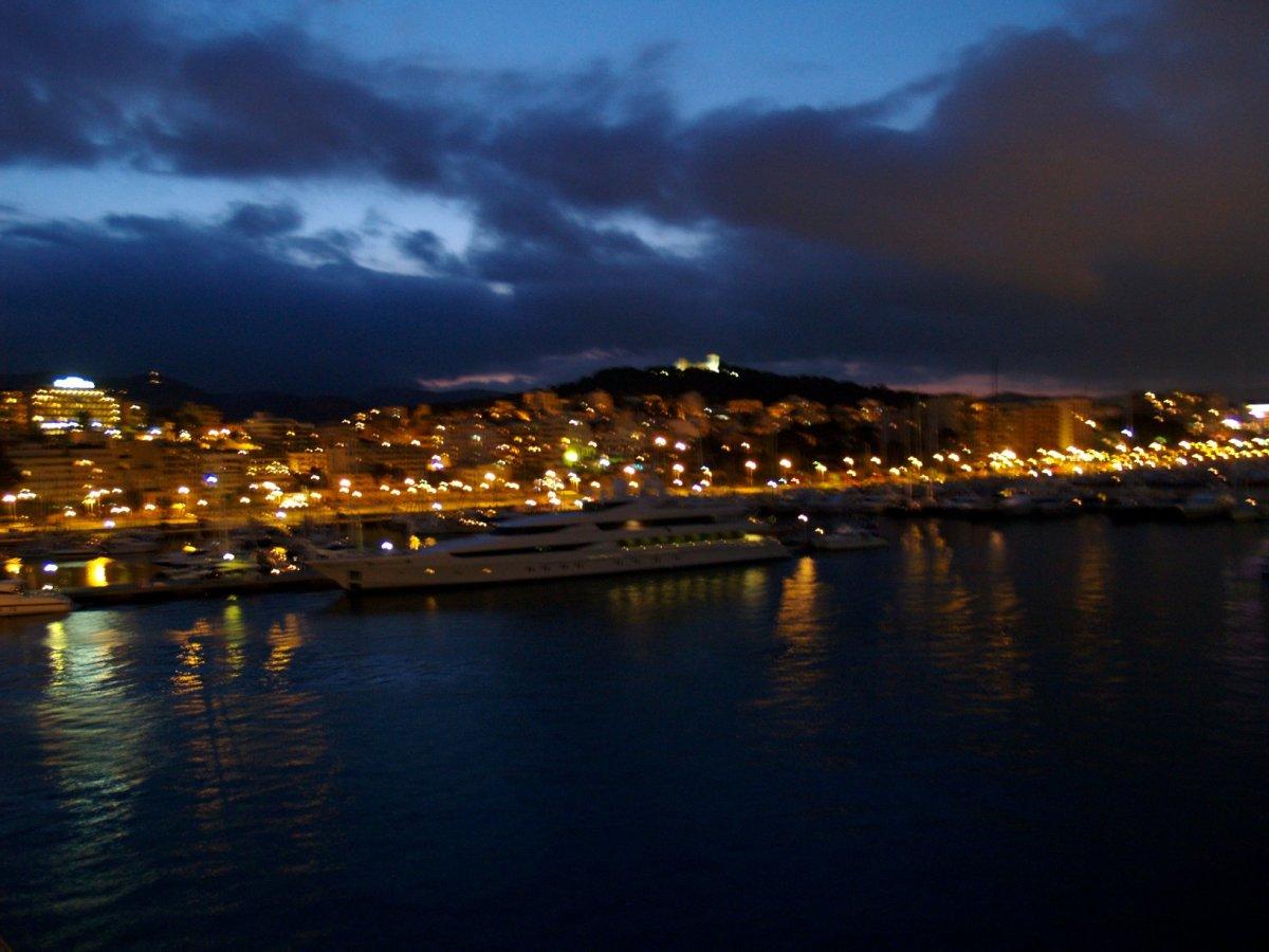 Turkish harbour at night