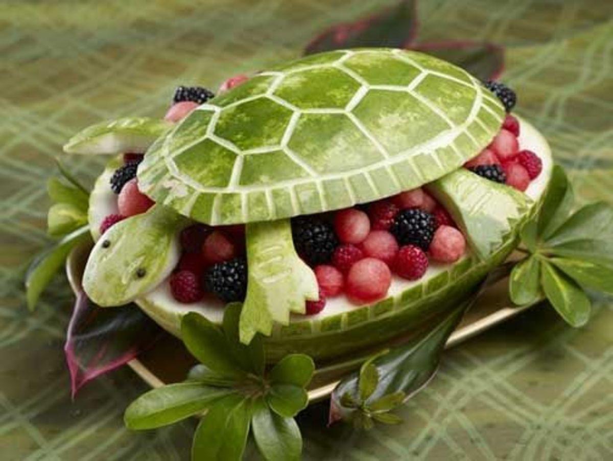 carved watermelon basket turtle