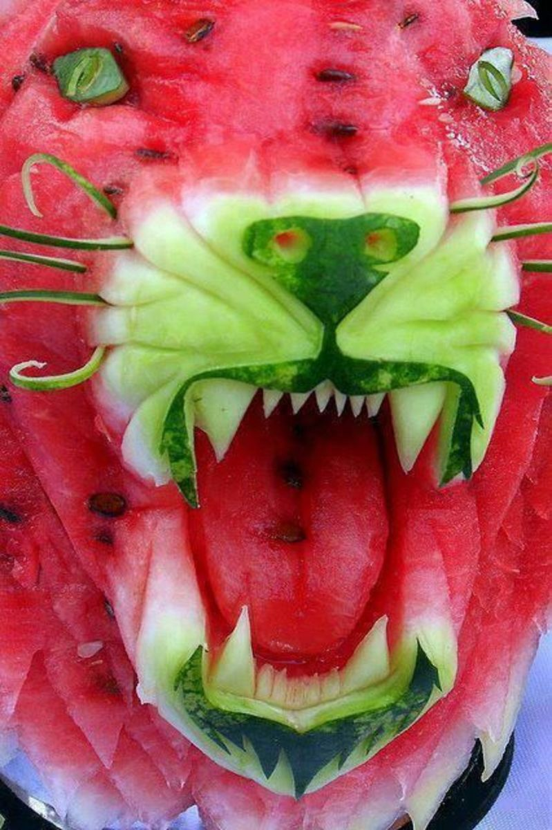 carved watermelon tiger