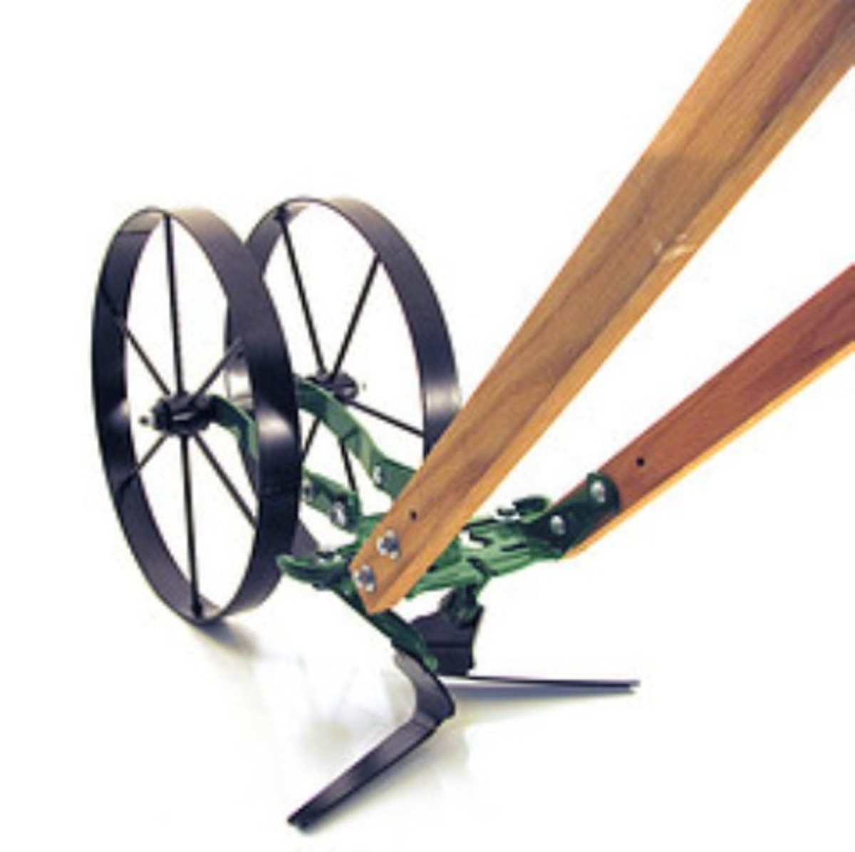 Double Wheel Hoe allows you to straddle new crops to cultivate on either side.