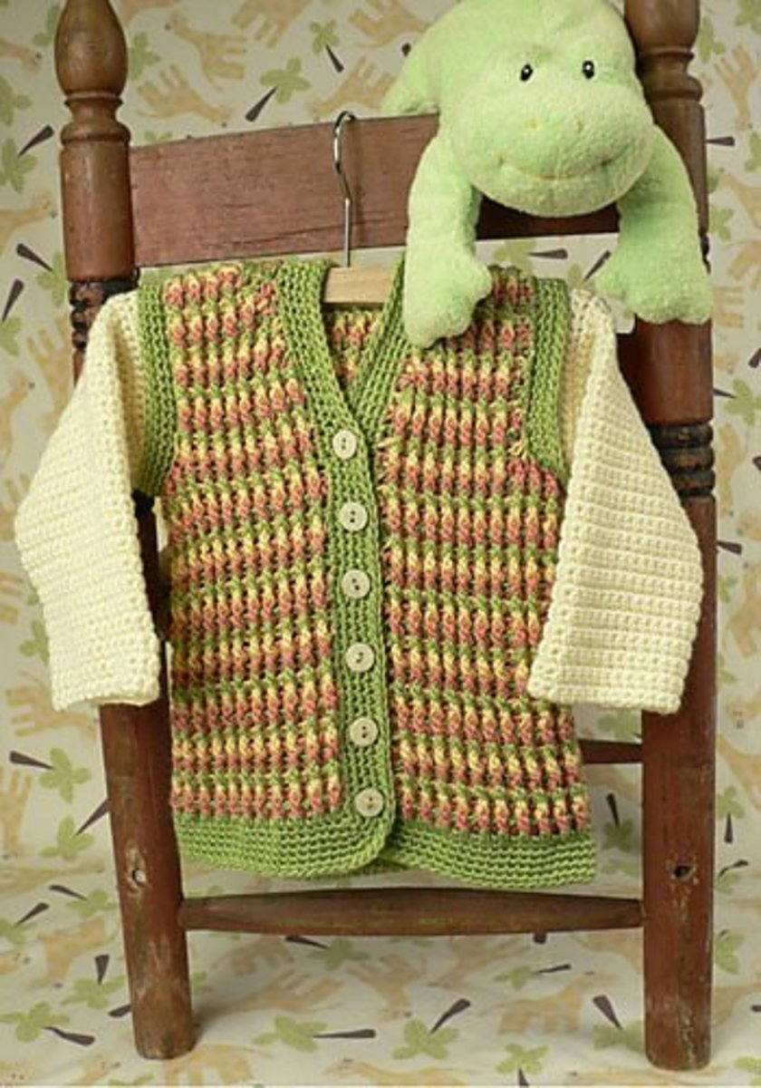 Turning Stones Crochet Baby Vest with Hoodie