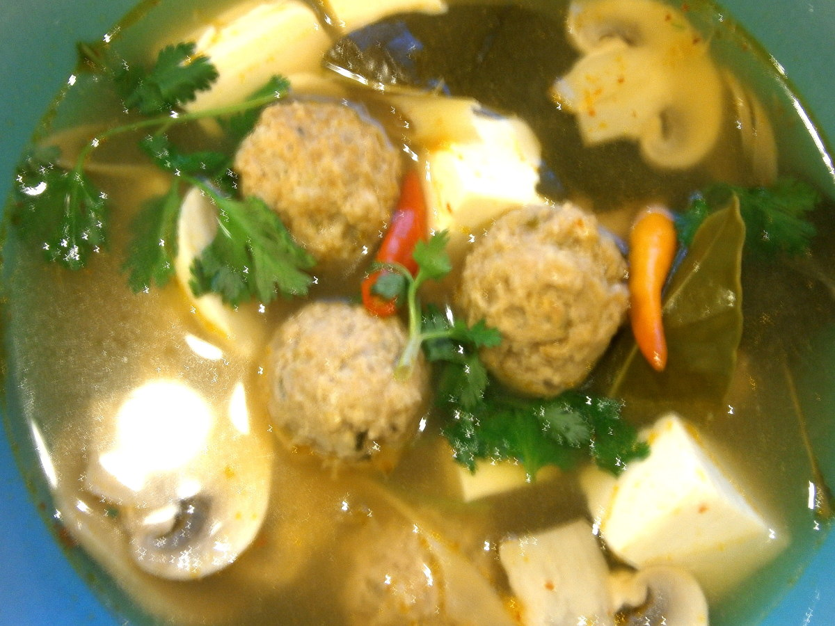 Tom Yum Soup with Meatballs and Tofu