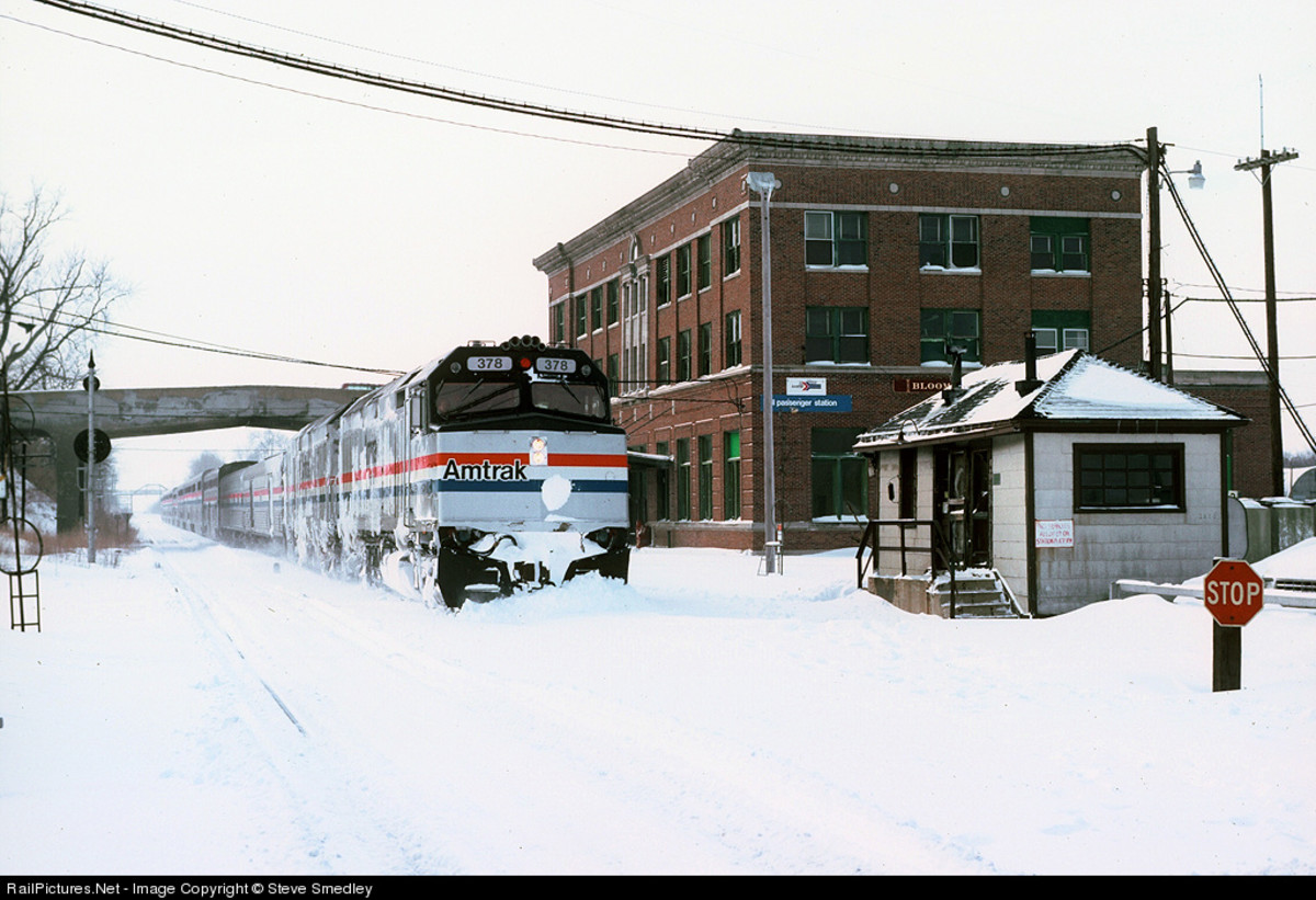 The Bloomington Station on a snowy day in February, 1987.