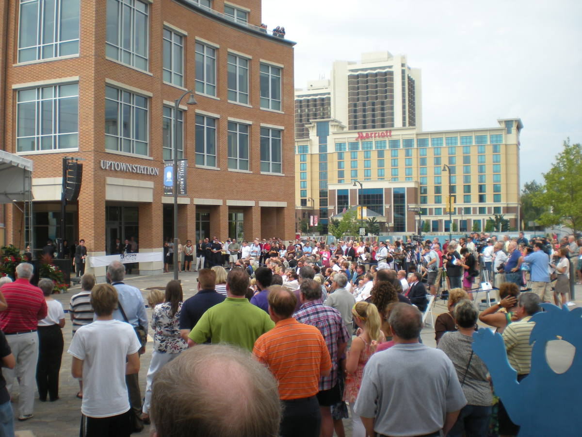 Hundreds turn out for the grand opening of the new Uptown Station in Normal, Illinois on July 14, 2012.