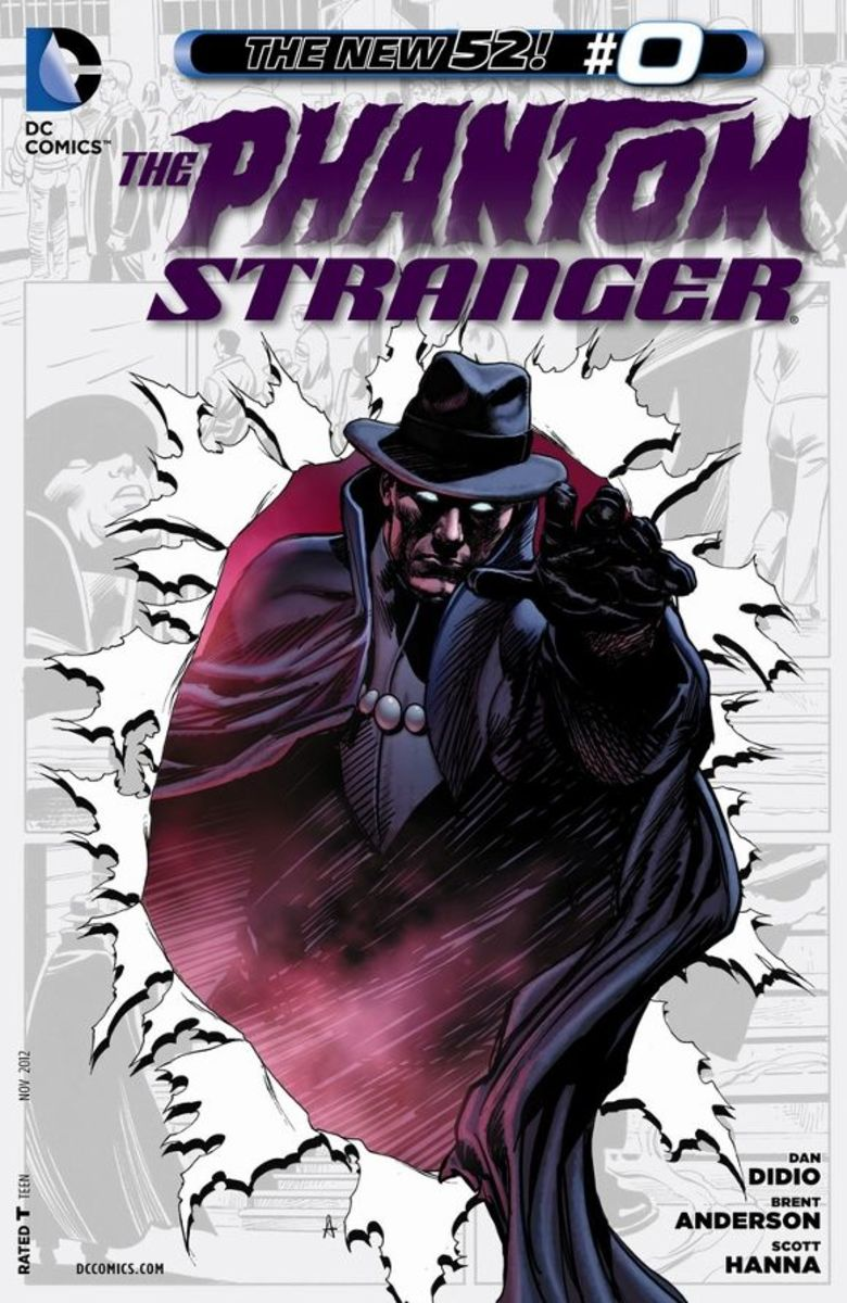 The Phantom Stranger #0An unknown man decides to kill himself and is transported before a mysterious council where he and two others are judged the greatest of sinners. Given tokens to wear, he is now immortal and sent to the past where he must some