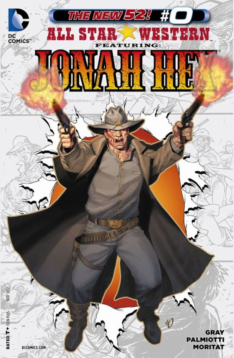 All Star Western #0The story of Jonah Hex, beginning with his birth and how his mother left him and his father sold him to the Apaches. Among the tribe, he is betrayed by his half-brother and left for dead, eventually joining the Rebels in the Civil