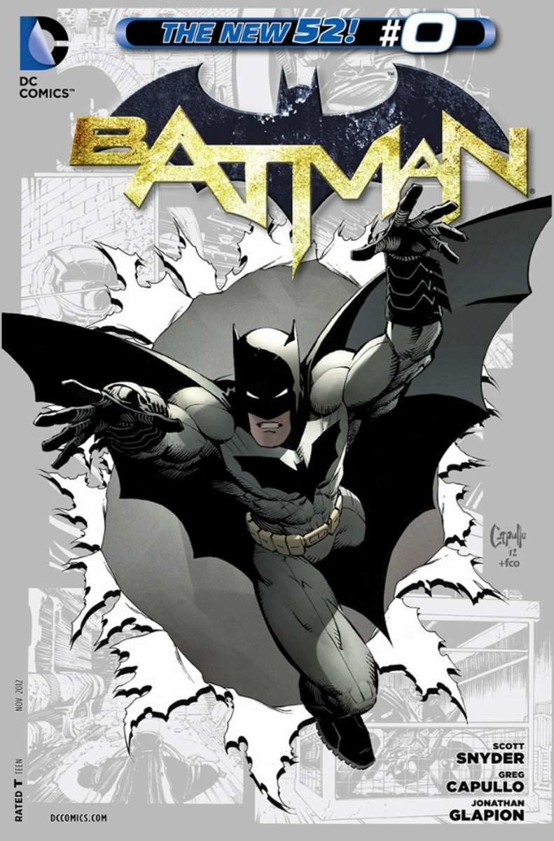 Batman #0Bruce Wayne arrives back in Gotham City and begins his quest to assume the role of protector. With the help of Alfred, he begins refining the technology to one day strike back. In a second story, minor stories of Dick Grayson, Tim Drake, an