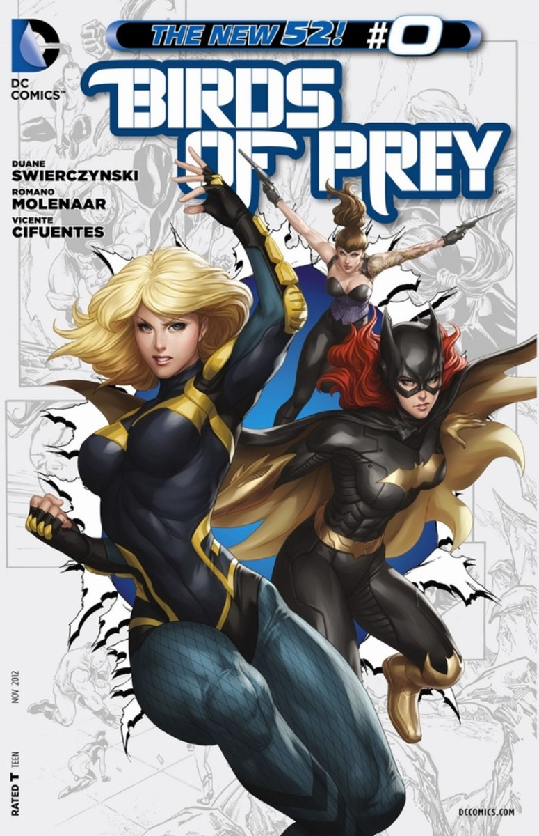Birds of Prey #0From a year ago, Dinah Lance, The Black Canary recalls her first meeting with Batgirl, when she and Starling first worked for The Penguin and attempted to stop a metahuman bomb. As the story concludes, we learn Starling is secretly w