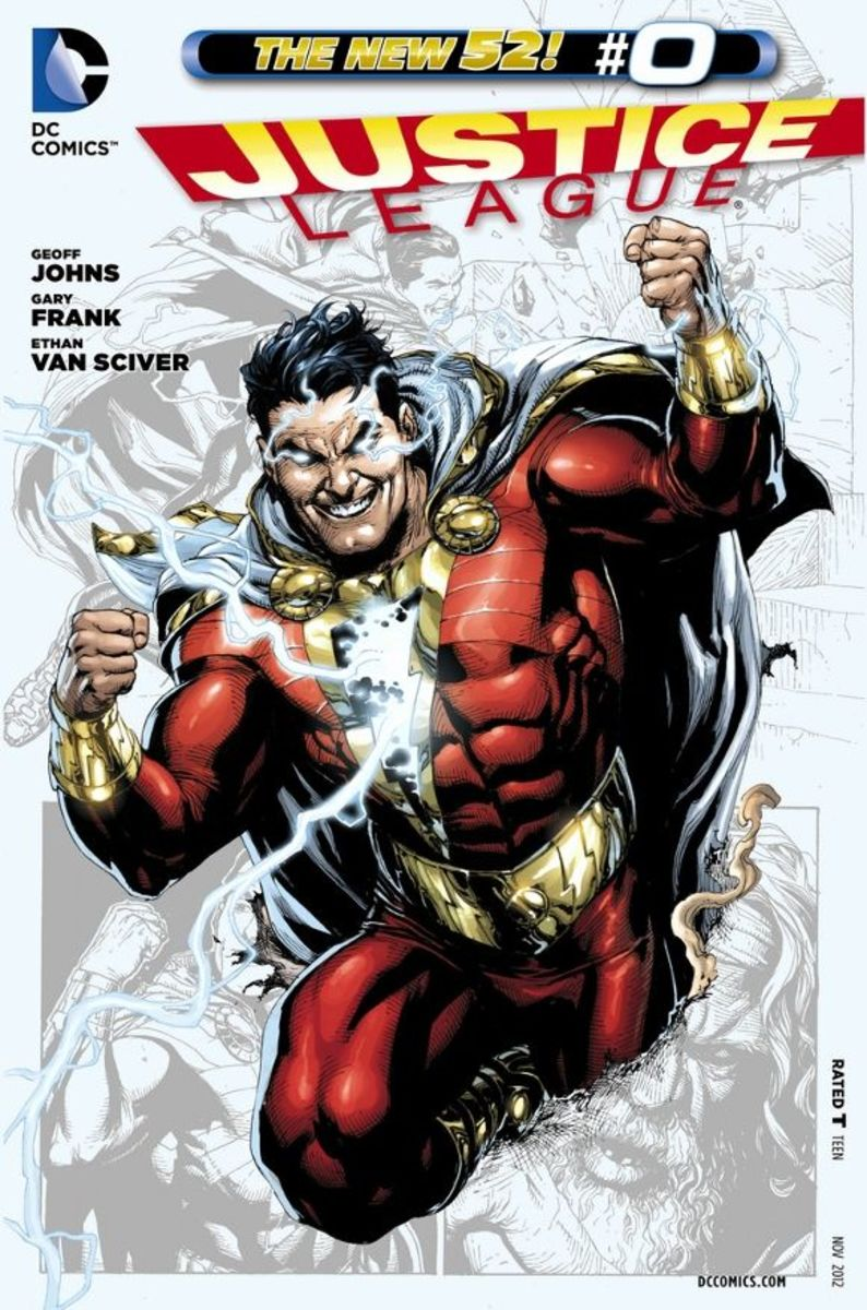 Justice League #0Billy Batson meets the last member of the Council of Wizards at the Rock of Eternity and is granted the power of SHAZAM! He becomes a being of great power, but in this origin, hasn't yet fully grasped the understanding of responsibi