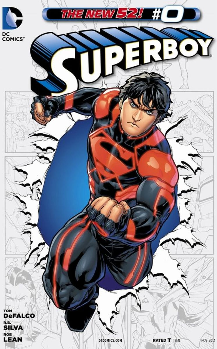 Superboy #0From the history of a clone uprising on the planet Krypton, NOWHERE headquarters, governed by the villain, Harvest, have created a human/kryptonian hybrid that is being trained to fight to the death. He befriends Fairchild, Teen Titans, a
