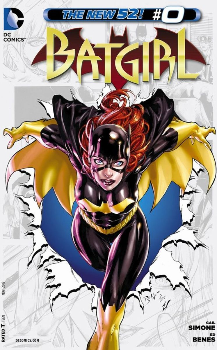 """Batgirl  #0Barbara Gordon relieves her early past as a young daughter of the Comissioner, just as The Batman """"myth"""" is starting to explode. While at the Gotham PD Headquarters, a prisoner escapes and she takes him down."""