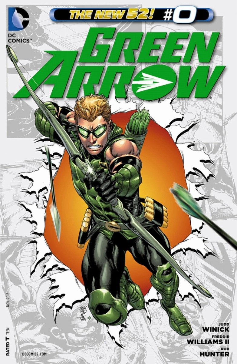 Green Arrow #0Ollie Queen is a rich, youth whose ignorance and brashness cause his father's oil rig to be attacked. Trying to save it, the fight causes an explosion, killing everyone except him. He ends up stranded on an island for months. The stor