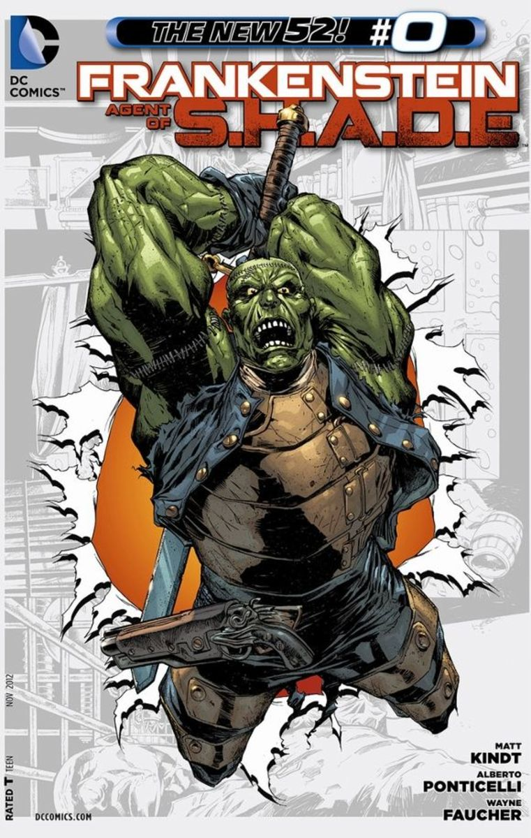 Frankenstein, Agent of SHADE #0From his creation by the doctor, Frankenstein emerges immediately as a soul of good with an aggressive bent against evil. He travels the world, but eventually faces his creator once again. The final pages show his recru