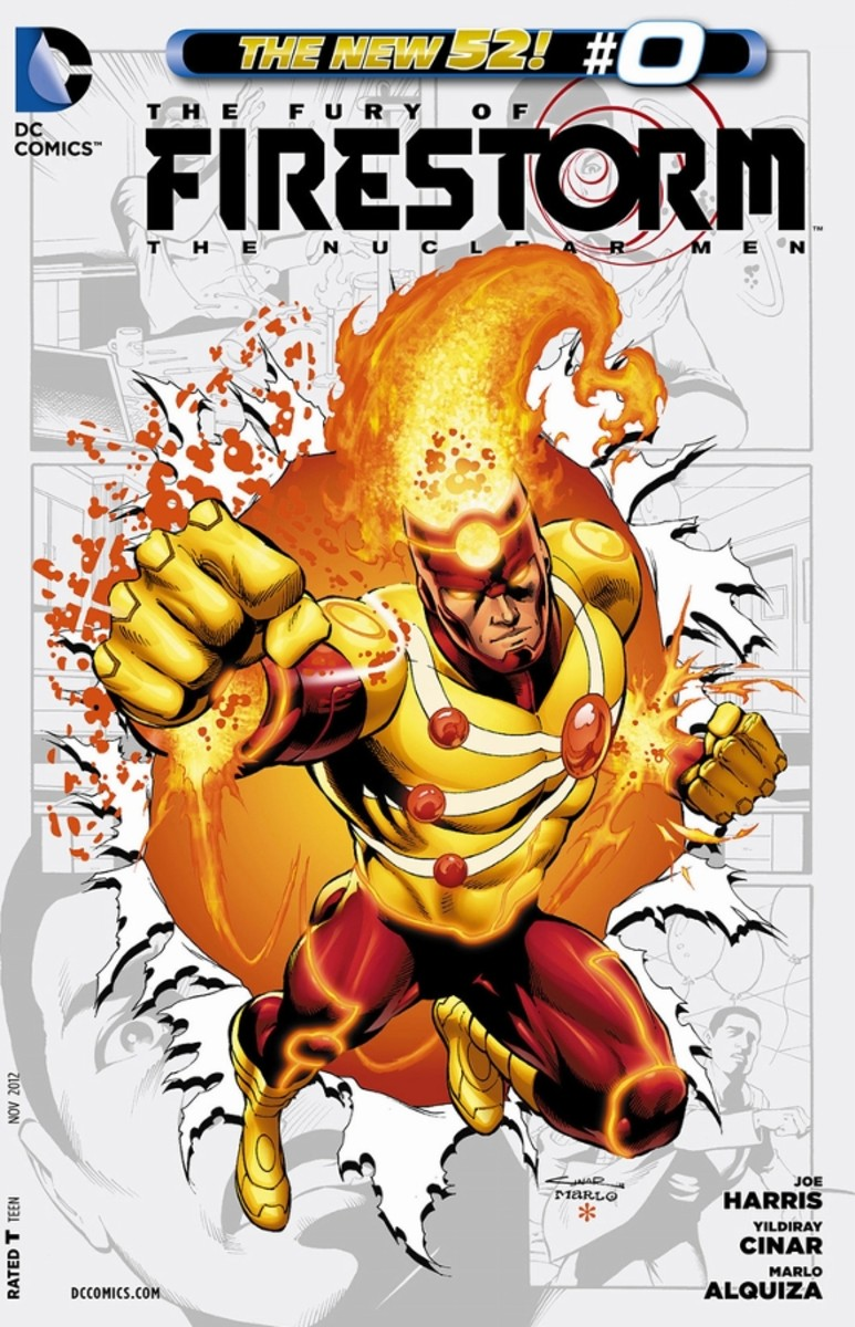 The Fury of Firestorm #0Jason Rusch and Ronnie Raymond believed their powers were gone, until side effects start appearing. During a football game, Helix returns, attempting to capture them and that's when they touch, becoming a single Firestorm. Wo
