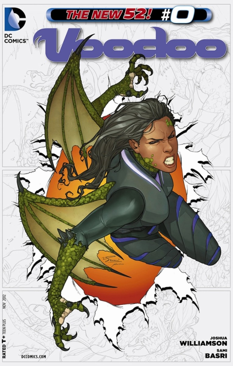 """Voodoo #0Captured by the Daemonites, Voodoo is experimented upon with other humans, and escapes while learning she can transform into a """"Hybrid"""". Before the Daemonites can recapture her, she's saved by the Black Razors. In response, the aliens decid"""
