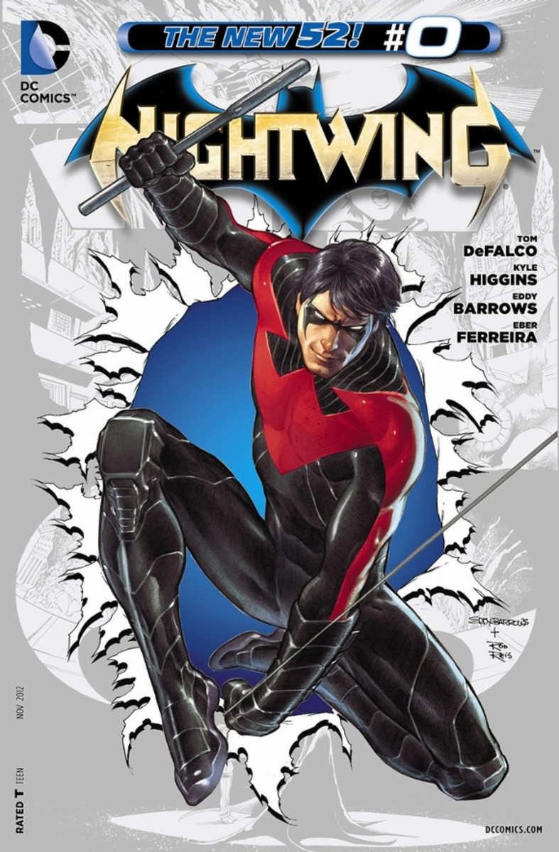 """Nightwing #0The origin of Dick Greyson. Born into the family """"Flying Graysons"""", Dick's life is forever altered when they are murdered by mob boss, Tony Zucco. Bruce Wayne takes him in and they slowly evolve into the crime-fighting team of Batman and"""