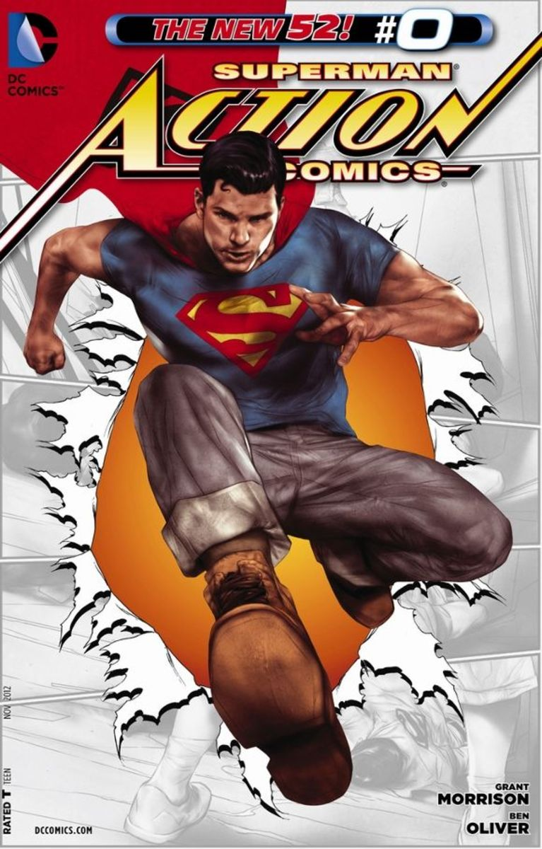 """Action Comics #0Making his first appearances in Metropolis, Clark stays with friend Jimmy Olsen as he interviews to become a reporter. Elsewhere in the city, pictures and reports say an indestructible man with an """"S"""" on his cape is fighting criminal"""