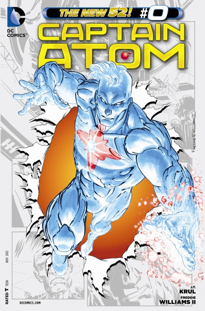 "Captain Atom #0Nathanial Adam reveals his origin, where he lost his father, went into a depression, and offered to be a lab rat for Dr. Megala's ""M Theory"" experiment."