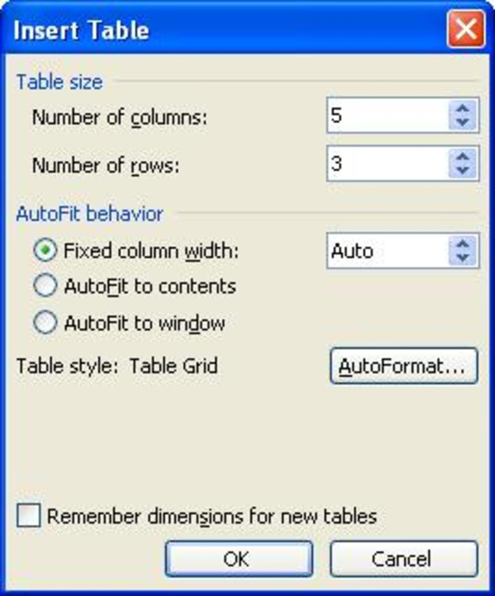 The insert table option