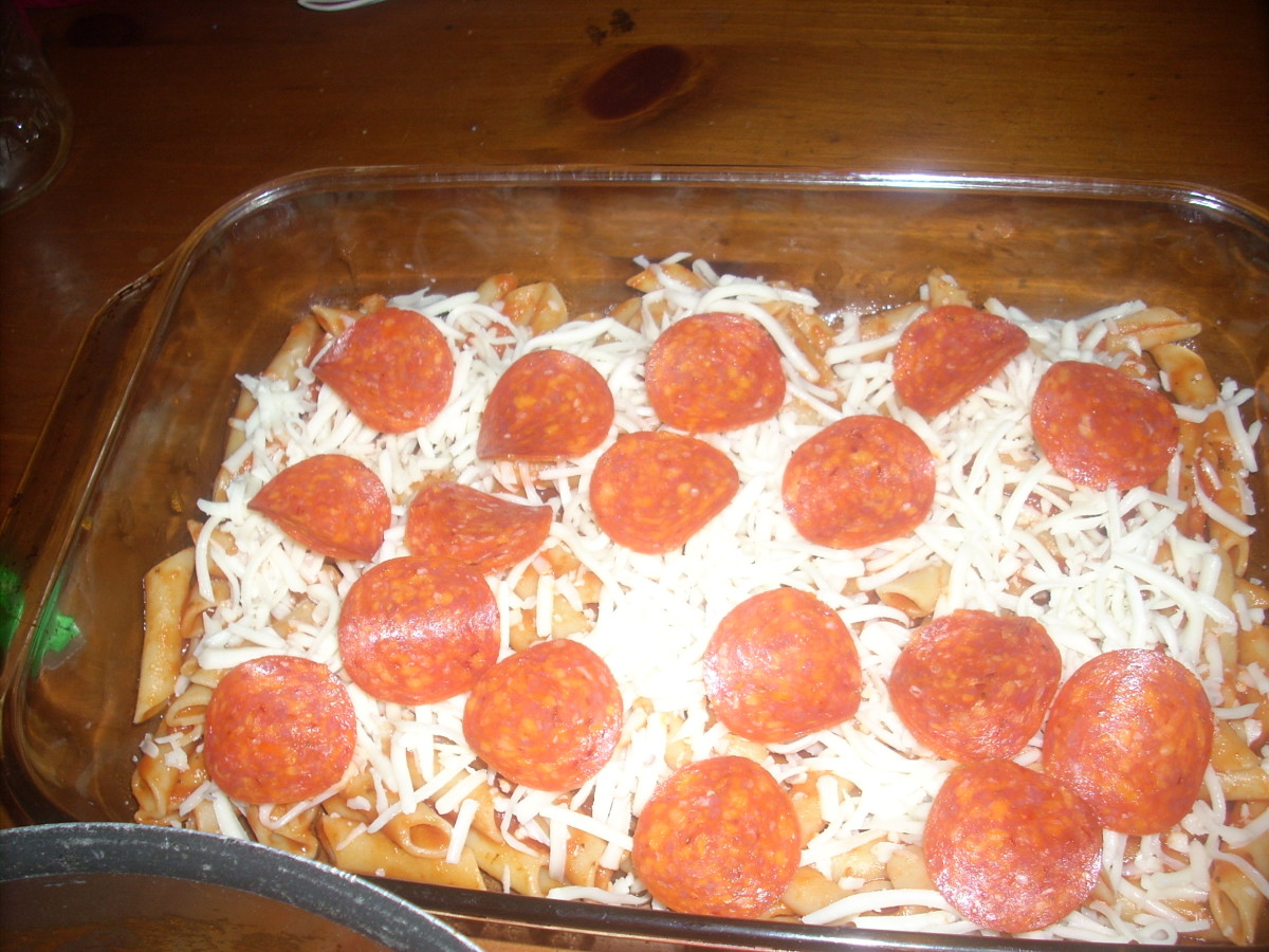 Layer the cheese and pepperoni