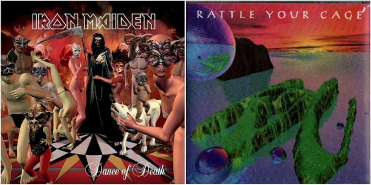 "Left: Iron Maiden, ""Dance of Death,"" Right: Barren Cross, ""Rattle Your Cage"""