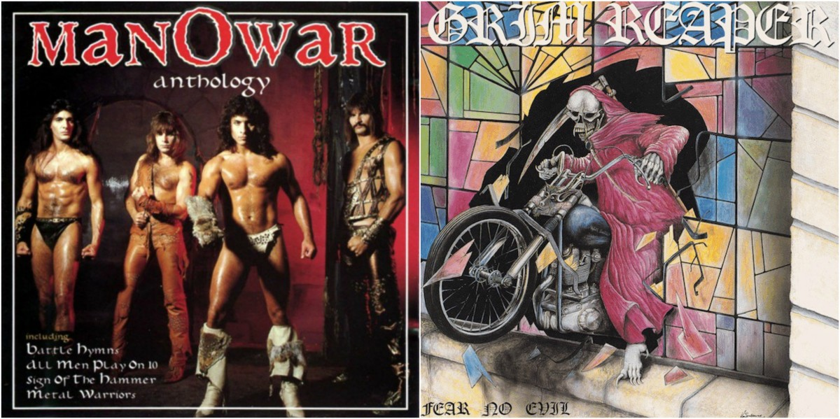 "Left: Manowar, ""Anthology,"" right: Grim Reaper, ""Fear No Evil"""