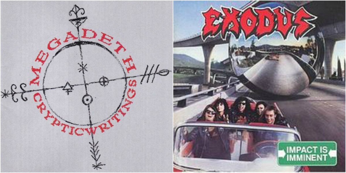 "Left: Megadeth, ""Cryptic Writings,"" right: Exodus, ""Impact is Imminent"""