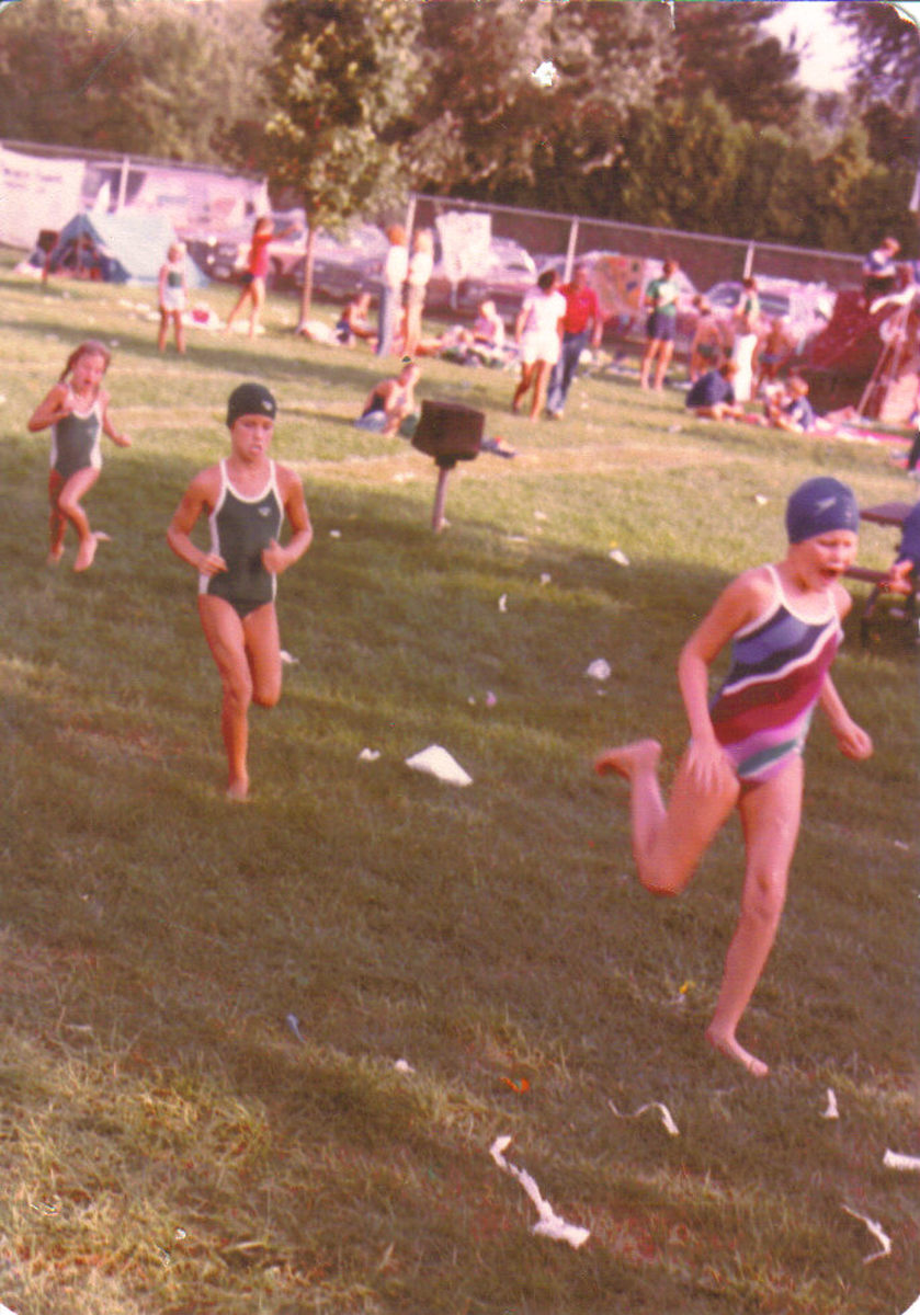 Our relay consisted of some of my best summer friends. At age eight, our relay running to the blocks during swim team finals