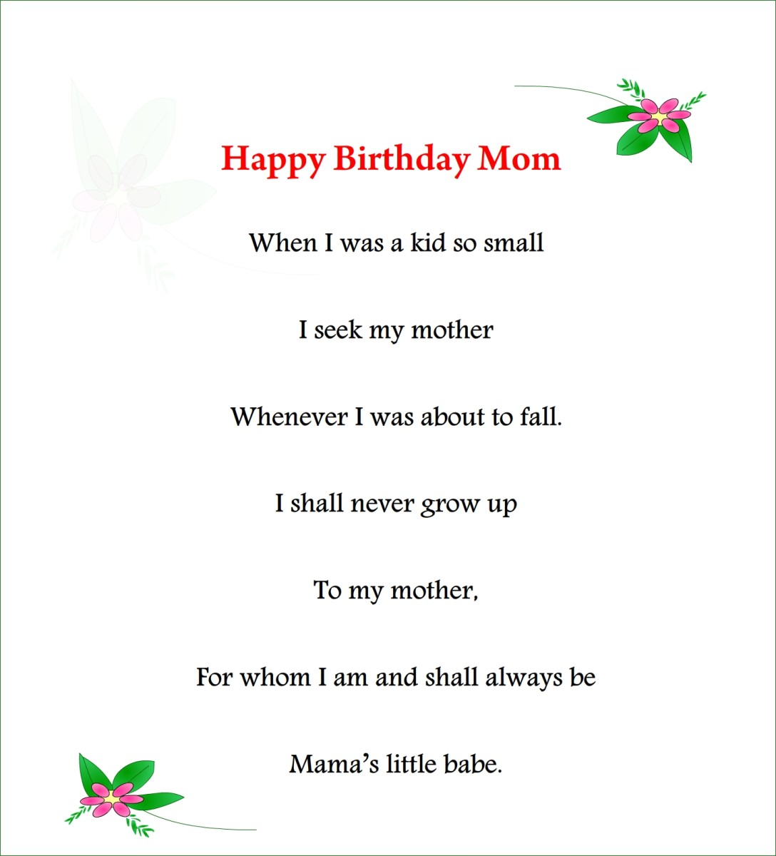 Happy birthday mom poem