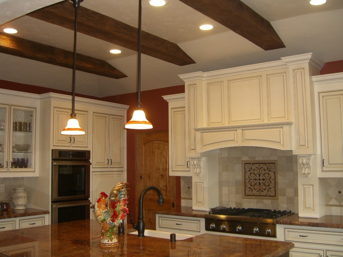 Wood Beams on the Ceiling in a Kitchen