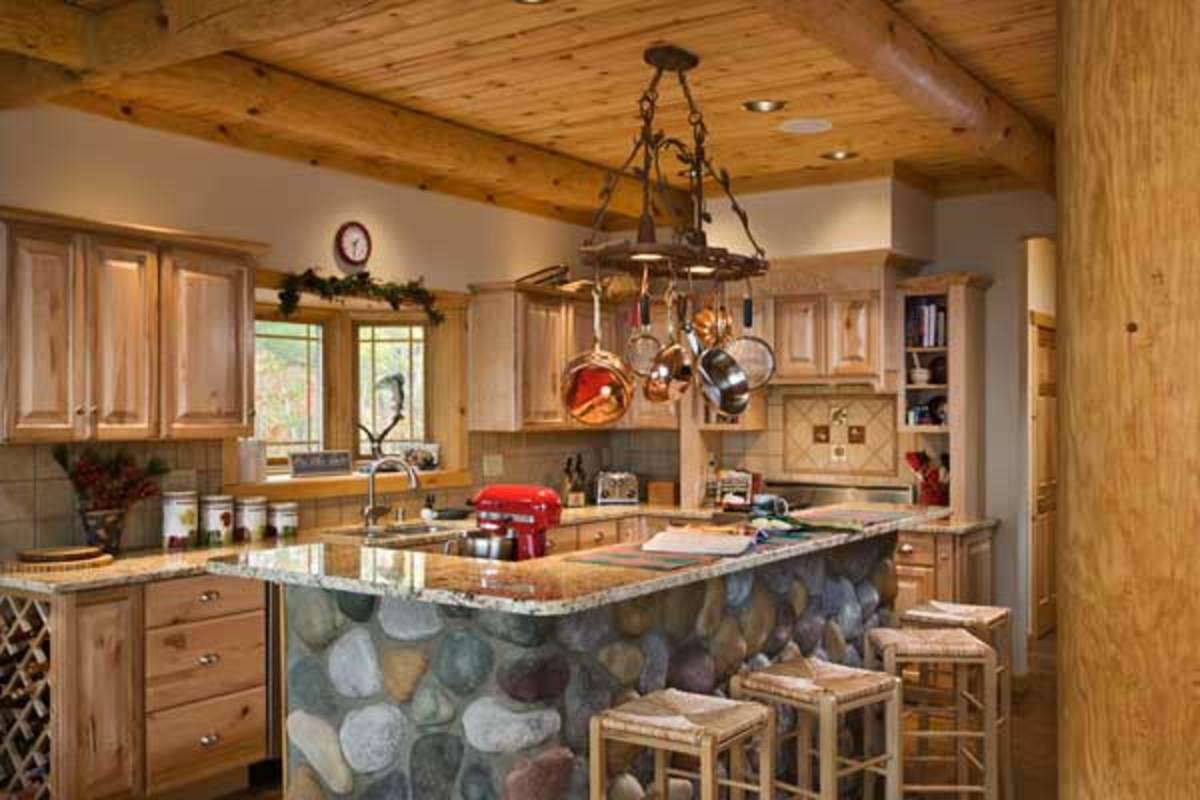 Log Cabin Kitchen with Wood Beams in the Ceiling