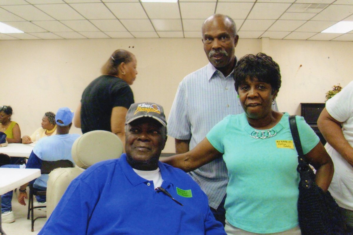 Willie (June) Platt, takes a photo with his cousin Earlene and her husband Alexander Canty, who is also my sister and  my brother-in-law.