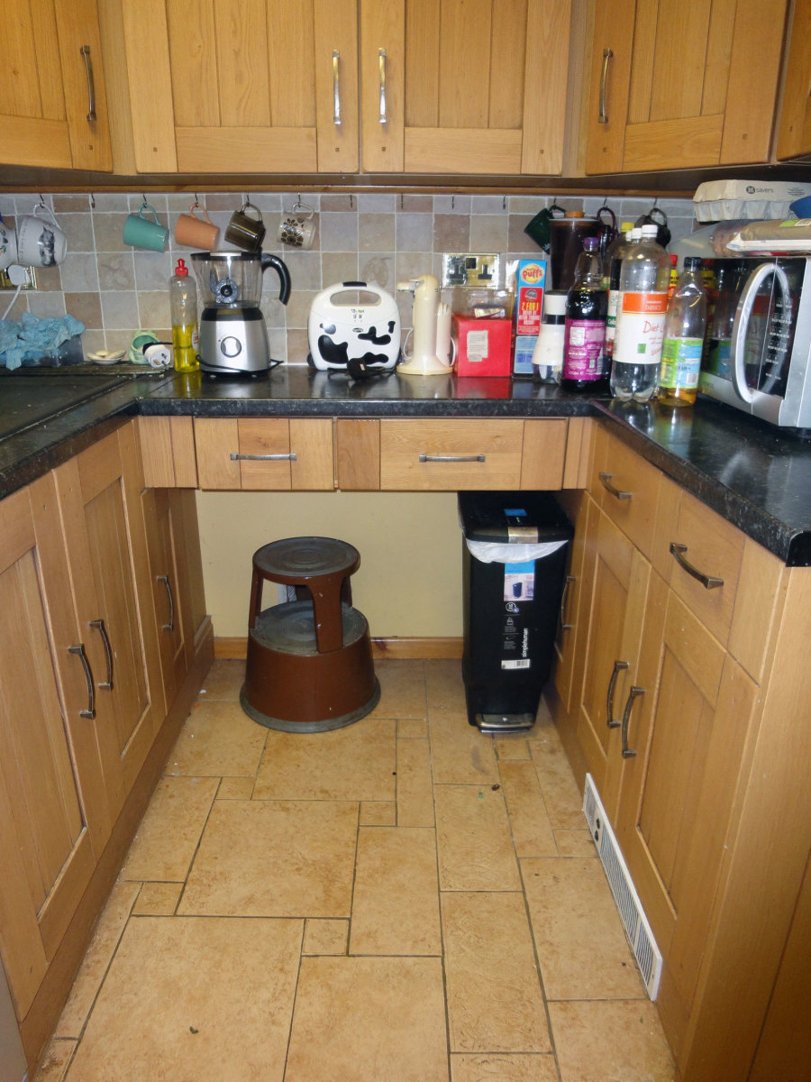 Dalek Stool stowed away under the worktop in our kitchen