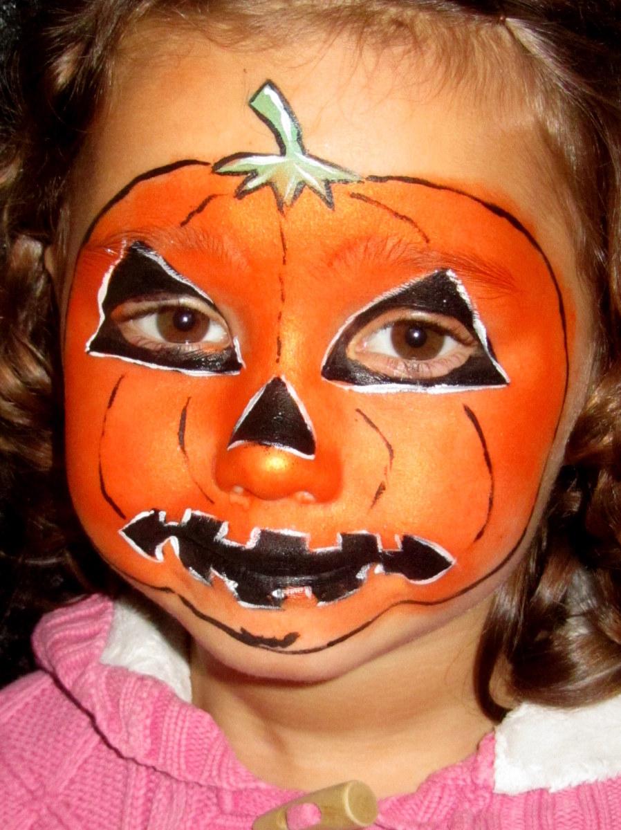 pumpkinjackolanternfacepaintingchildrenhalloween
