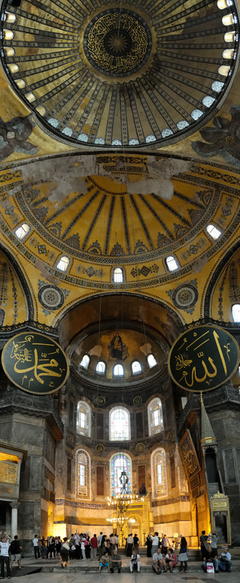 Interior and main dome of the Hagia Sofia.