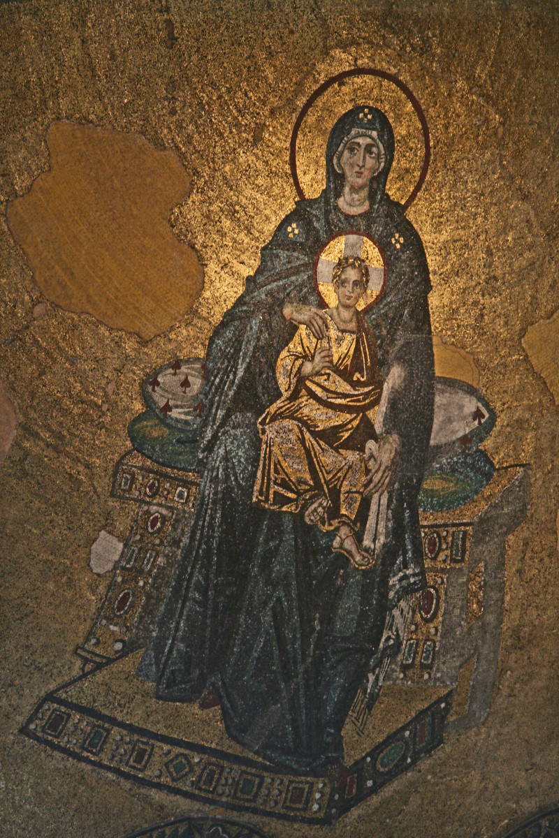 Virgin Mary and baby Jesus.  Interior of Hagia Sophia.